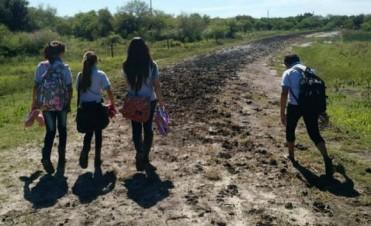 En Federal : Descalzos, recorren el camino que los lleva a la escuela