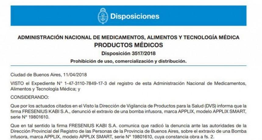 La Anmat prohibió el uso y la distribución de productos médicos