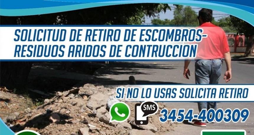 SOLICITUD DE RETIRO DE ESCOMBROS O RESIDUOS ÁRIDOS DE CONSTRUCCIÓN
