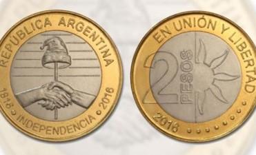 Este lunes comienza a circular la nueva moneda de 2 pesos