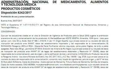 Prohibieron el uso de varios productos médicos y cosméticos
