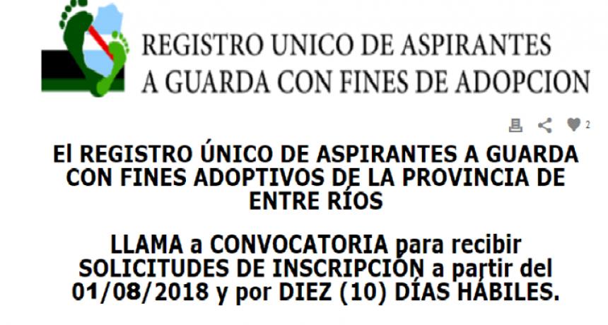 Convocatoria Inscripción registro de Adoptantes Entre Ríos