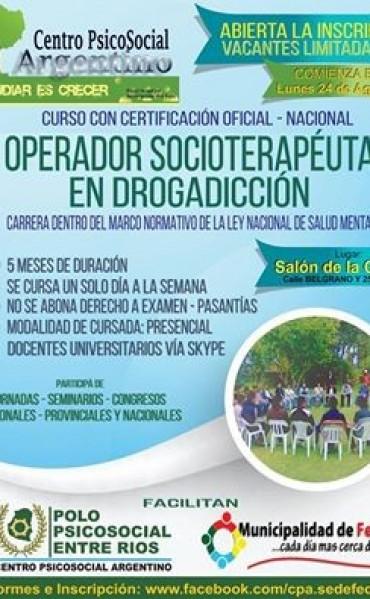 Se dictará un curso de Oficial Operador Socioterapeuta en Drogadicción