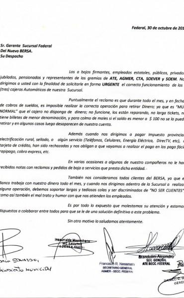 Gremios locales de ATE, AGMER, CTA, SOEVER y SOEM, reclamaron al Nuevo Banco de Entre Ríos S.A.