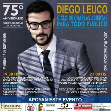 Diego Leuco disertará por los 75 años de la Sociedad Rural de Federal.