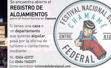 Federal : Registro de alojamientos para los días del Festival