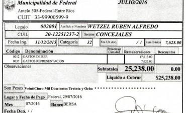 El Presidente del Bloque de Concejales Cambiemos-UCR denuncio al Vice-Intendente de Federal  por Incompatibilidad