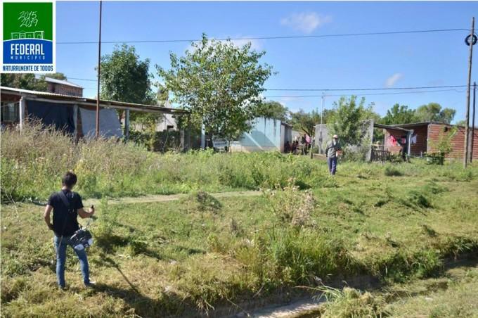 Limpieza y corte de pasto en distinto sectores de la ciudad