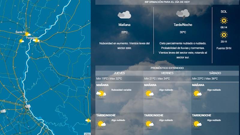 Prevén lluvias para hoy en Entre Ríos y alertan por tormentas en 6 provincias