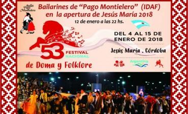 """Bailarines federalenses de la Escuela de danzas del IDAF """"Pago Montielero """" en Apertura de Jesús María 2018"""