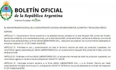 La Anmat clausuró un laboratorio en Lomas del Mirador y prohibió