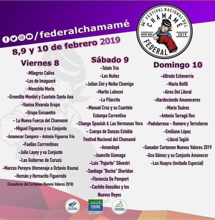 Cartelera Oficial del Festival Nacional del Chamame en Federal