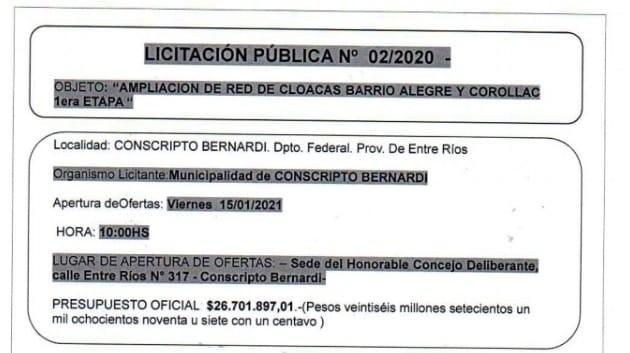 LLAMADO A LICITACIÓN PÚBLICA N° 02/2020