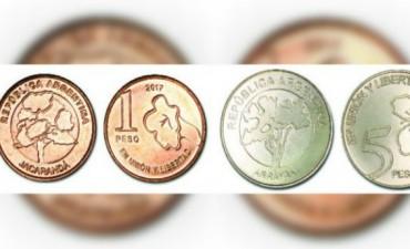 Comenzaron a circular las nuevas monedas de 1 y 5 pesos