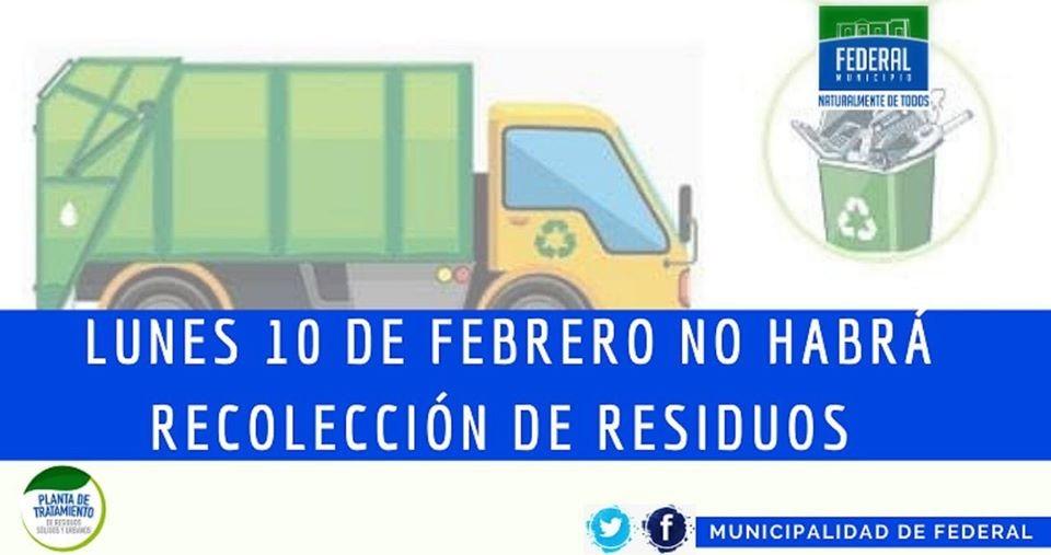 Este lunes no habrá servicio de recolección de residuos