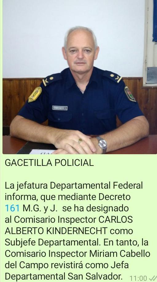 El Comisario Inspector Carlos Alberto Kindernecht fue designado nuevo Sub-Jefe de la Departamental Federal
