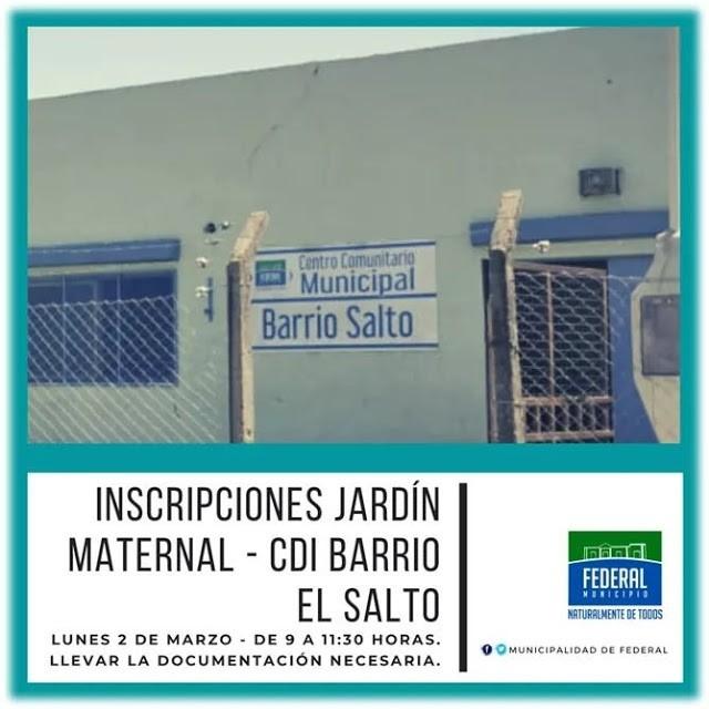 Este lunes se abren las inscripciones para el Jardín Maternal en el CDI de Barrio El Salto