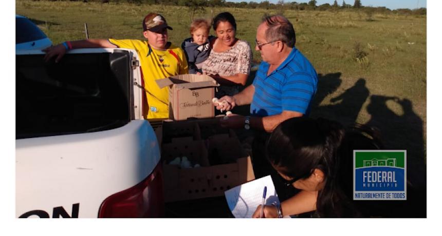 Entrega de pollitos parrilleros y pollitas ponedoras a familias de Colonia Federal, en el marco del Programa PROHUERTA.