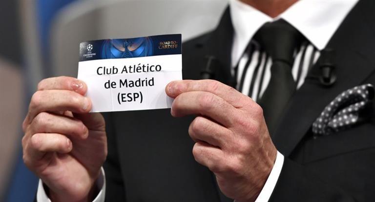 La suerte jugó a favor del Atlético de Simeone en el sorteo de los cuartos de la Champions League