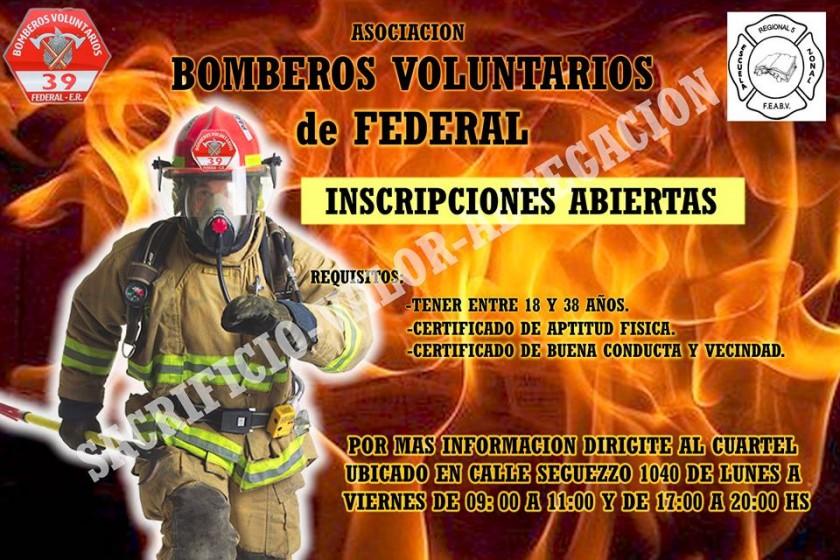 Esta abierta la inscripción para Bomberos Voluntarios