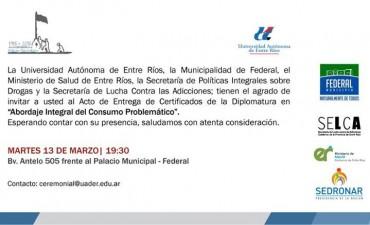 """Acto de Entrega de Certificados de la Diplomatura en """"Abordaje Integral del Consumo Problemático""""."""