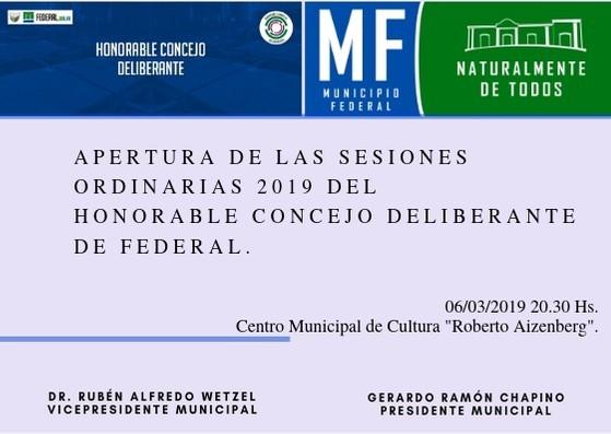 Apertura de Sesiones Ordinarias del Concejo Deliberante de Federal