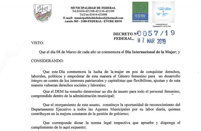 El Intendente de Federal decreto día no laborable para el personal femenino