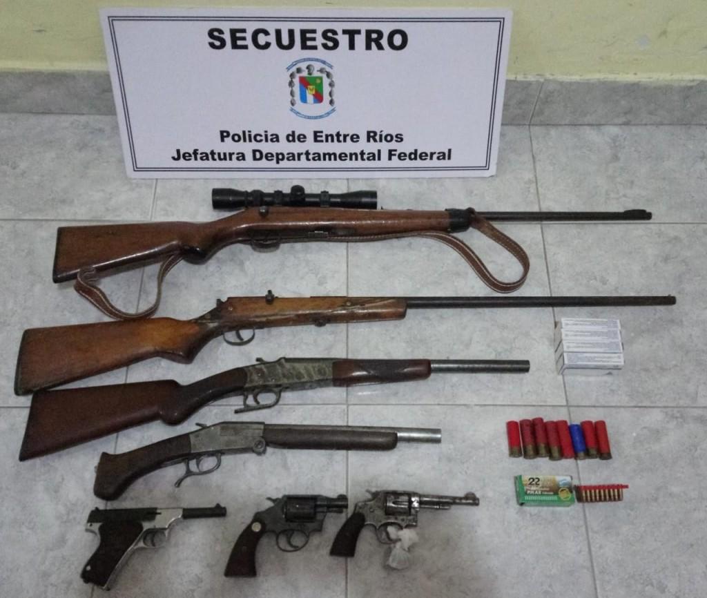 Allanamiento y secuestro de 7 armas de fuego