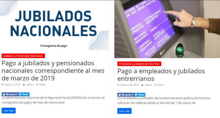 Los pagos de haberes a entrerrianos y nacionales serán difundidos a través de una nueva página web