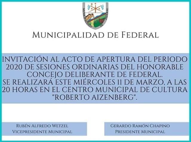 Este miércoles se realiza el Acto de Apertura de Sesiones Ordinarias del Concejo Deliberante
