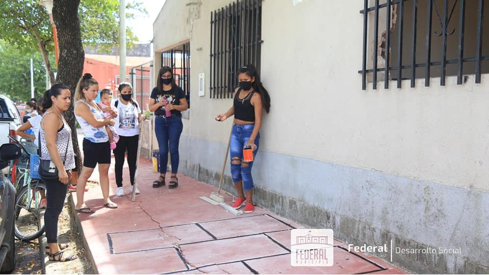 Intervención artística donde funcionará la oficina del Área de la Mujer y ANAF