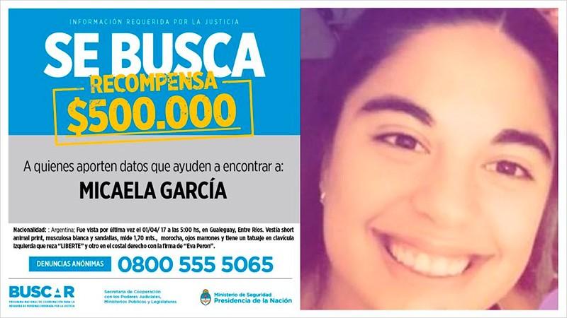 Desaparición de Micaela: Ofrecen $500 mil de recompensa por información