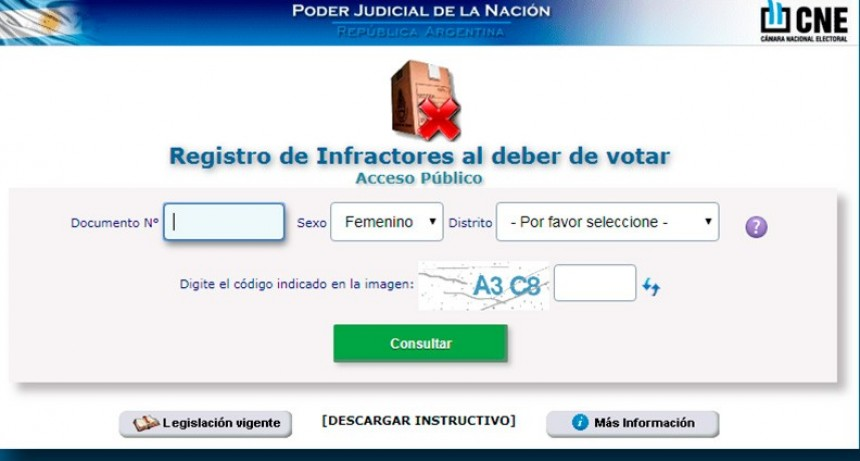 Cada ciudadano ya puede consultar si registra infracciones al deber de votar