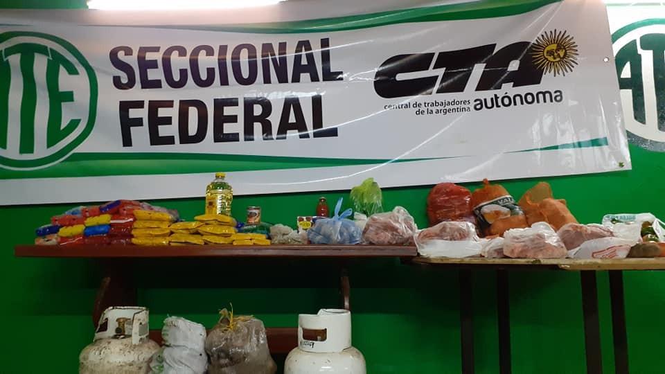 ATE seccional Federal y la CTA autónoma comenzará  a partir de este sábado  a entregar viandas