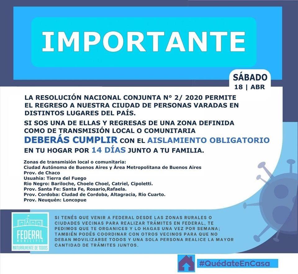 • Información Importante Resolución Nacional conjunta N° 2 / 2020