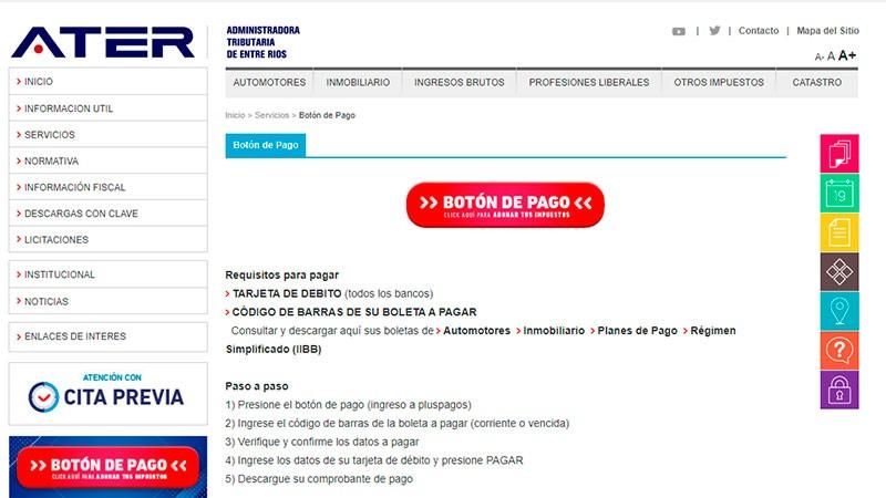 Pago Electrónico: Se pueden pagar impuestos provinciales desde la web de ATER