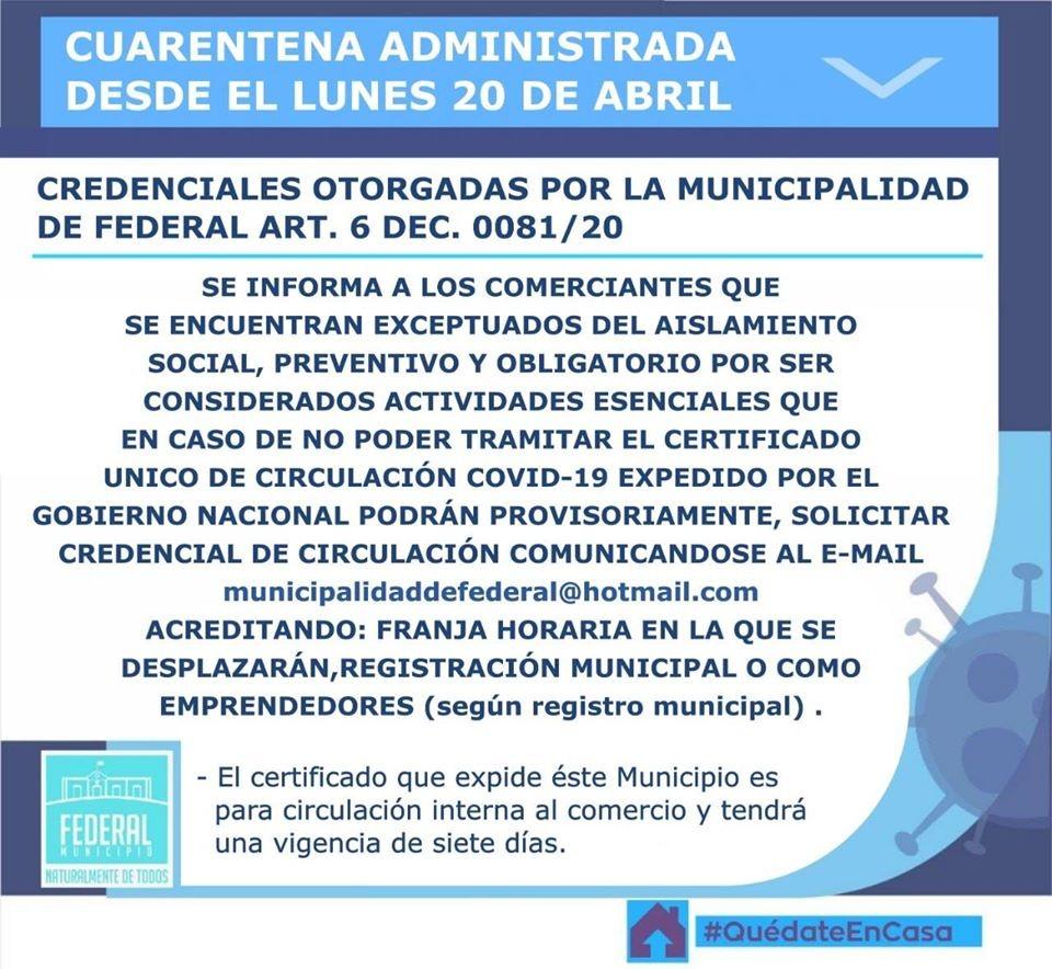 Credenciales otorgadas por el Municipio de Federal