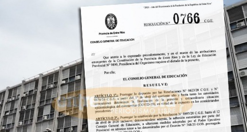 Prorrogan sin fecha el receso escolar en la Provincia