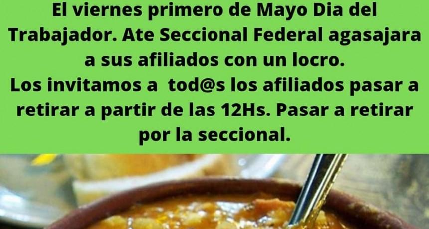 ATE Seccional Federal agasajará con una vianda de LOCRO a todos sus afiliados.