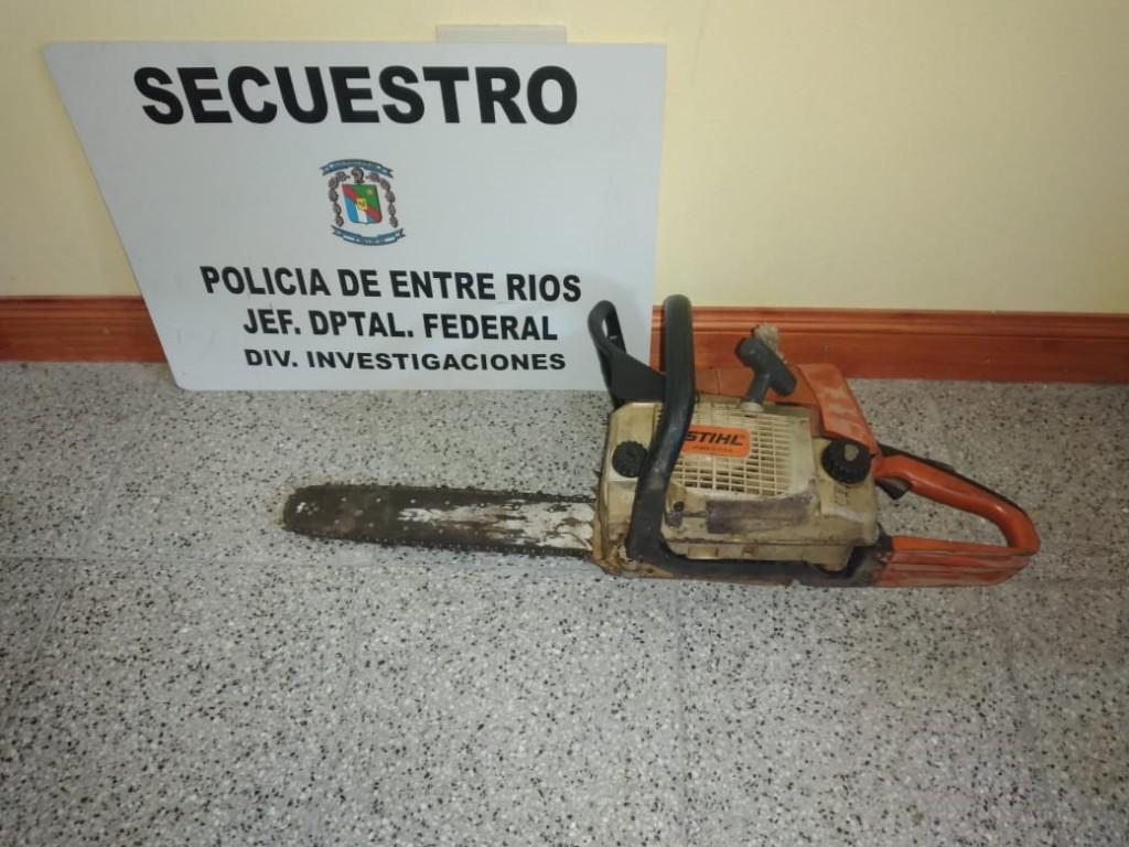 SECUESTRO DE MOTOSIERRA SUSTRAIDA
