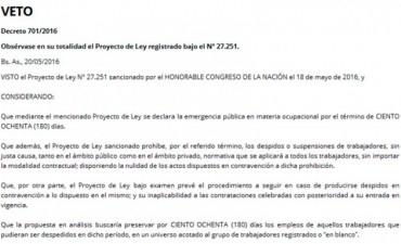 Macri oficializó el veto a la ley antidespidos: Qué dice el decreto