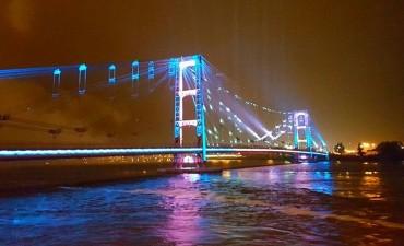 Quedó inaugurada la nueva iluminación del Puente Colgante de Santa Fe