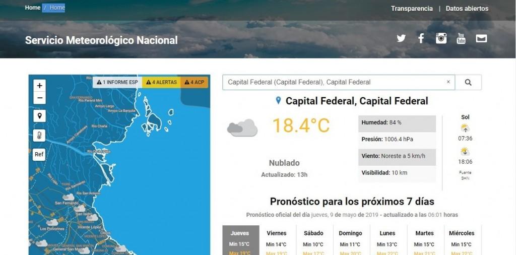 Así es el nuevo pronóstico del Servicio Meteorológico Nacional
