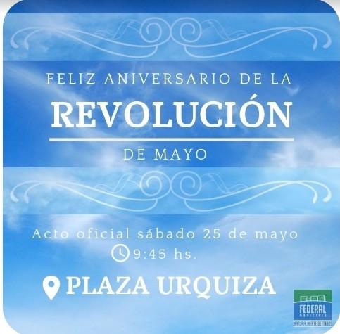 El acto oficial por el 25 de Mayo se realizara en Plaza Urquiza