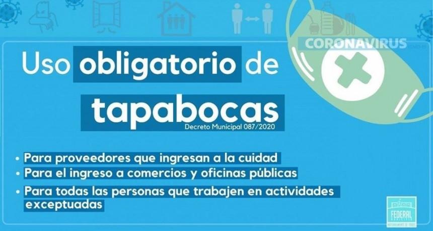 El Decreto Municipal 087/2020 establece el uso obligatorio de Tapabocas en nuestra ciudad