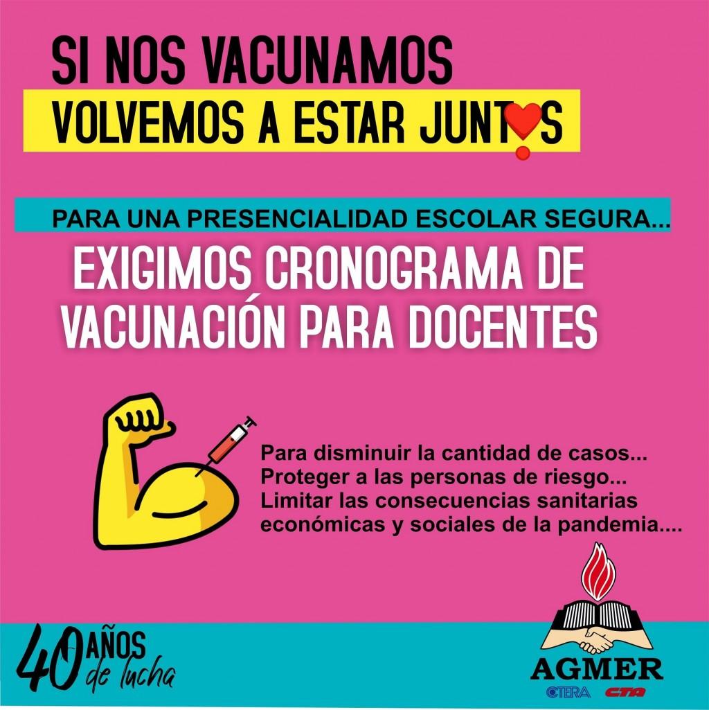 Agmer pide vacunas y suspensión de clases