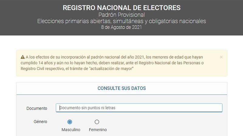 Publicaron el padrón electoral y ya se puede consultar a través de internet