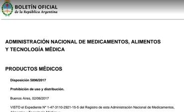 Prohibieron el uso y la distribución de un producto médico