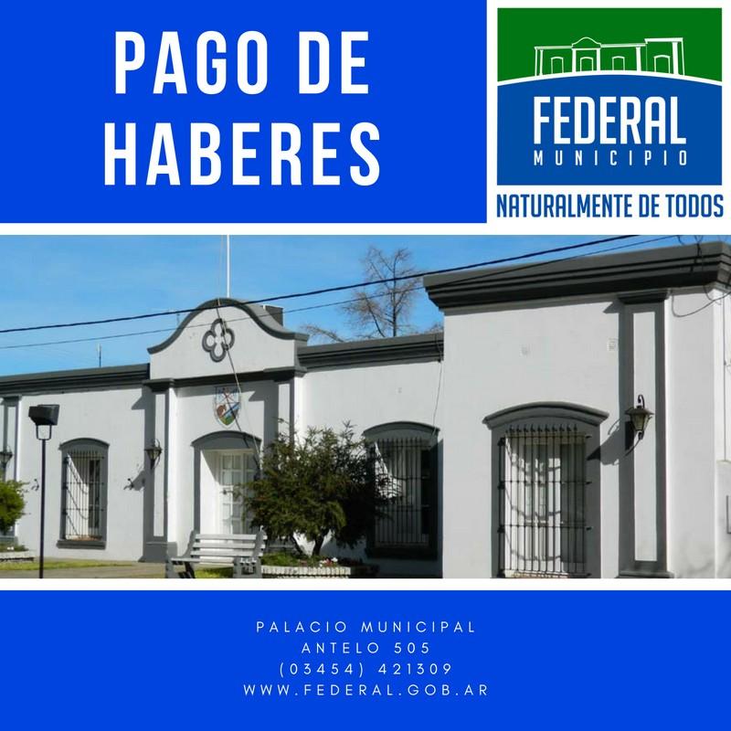 Pago de medio aguinaldo a trabajadores municipales de Federal