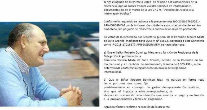 El Gobierno Nacional confirmó que Roberto Niez cobra más de 300 mil pesos por mes en CTM – Salto Grande